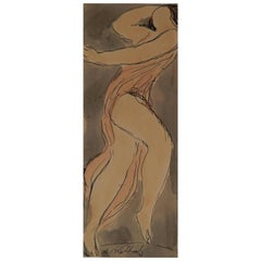 Abraham Walkowitz Delightful Original Watercolor, circa 1920s, Isadora Duncan