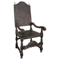 19th Century Spanish Embossed Leather Armchair