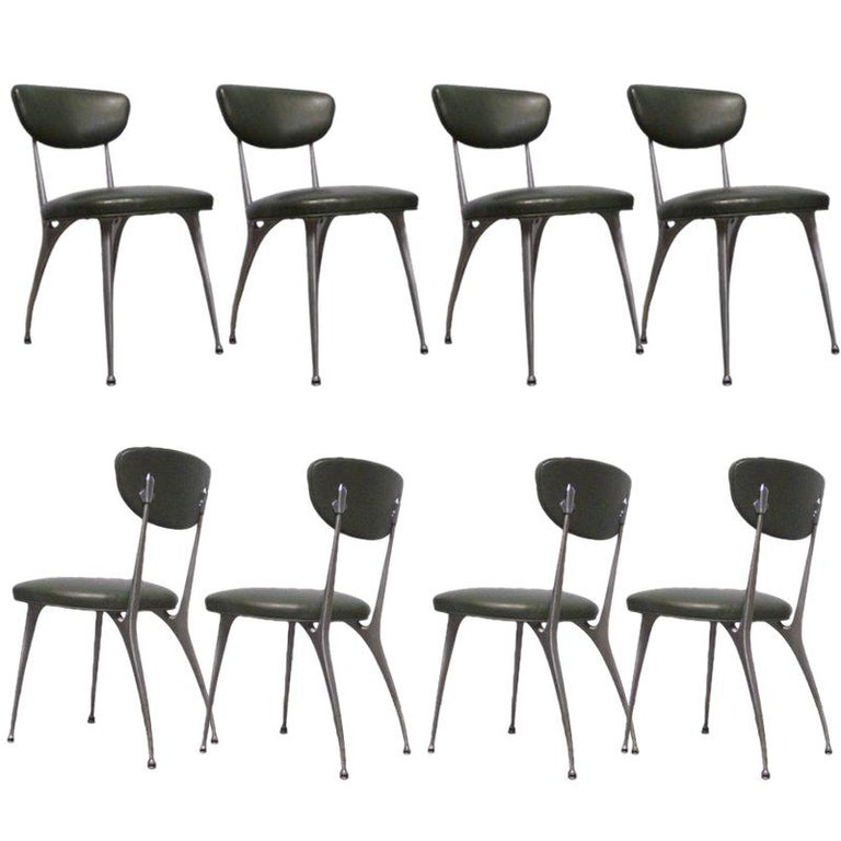"Set of 8 Shelby Williams Sculptural Aluminum Frame ""Gazelle"" Chairs For Sale"