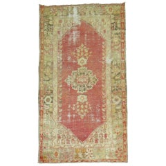 Distressed Antique Angora Oushak Rug