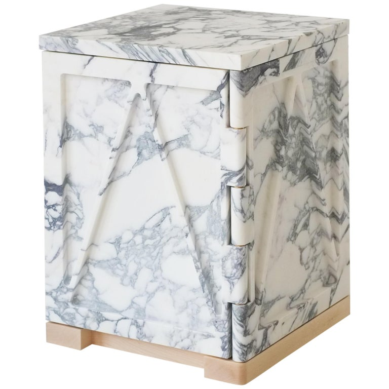Single Door Relief Stone Cabinet in Marble by Fort Standard For Sale