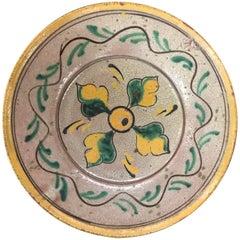 Antique Guatemalan Majolica Ceramic Plate Four Leaves