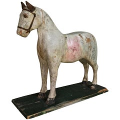 19th Century Swedish Hand Carved and Painted Horse