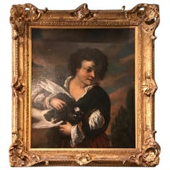 17th Century Neapolitan School Painting Oil on Canvas Boy with a Bird Wall Art