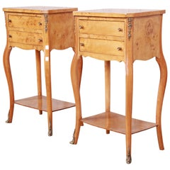 French Louis XV Style Burl Wood Nightstands, Pair