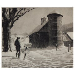 20th Century Master Printmaker Martin Lewis Etching, 1933, R.F.D.