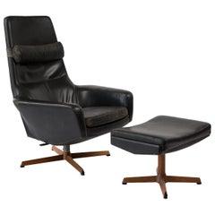 Kofod Larsen Leather Teak Lounge Chair and Ottoman