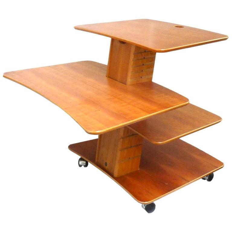 Vintage Adjustable Rolling Table or Workstation by Aksel Kjersgaard for Levenger For Sale