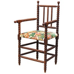 Early 20th Century Bobbin Chair with Upholstered Seat