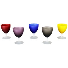 Set of 5 Small Multicolored Frosted Glass Wine Coupes or Cordial Glasses