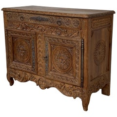 Catalan Spanish Hand Carved Baroque Oak Cabinet with Two Drawers and Two Doors