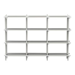 Stick System, White Shelves with White Poles, 3x4