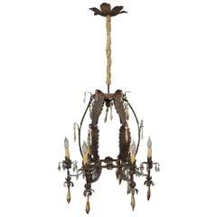 Italian Tole Leaf with Gilded Tassels and Crystals Chandelier