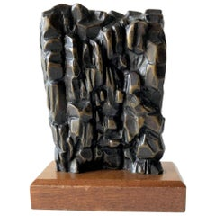 1950s Abstract Modern Bronze Signed Sculpture on Wood Base