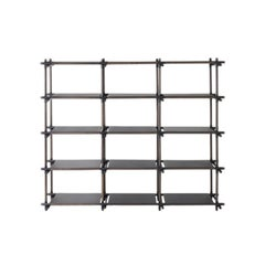 Stick System, Dark Ash Shelves with Black Poles, 3x5