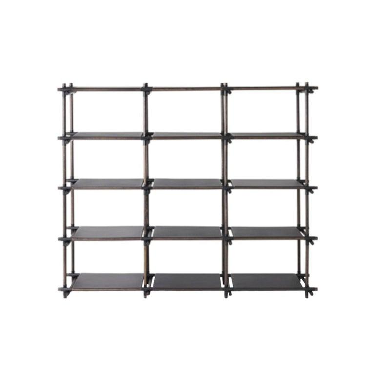 Stick System, Dark Ash Shelves with Black Poles, 3x5 For Sale