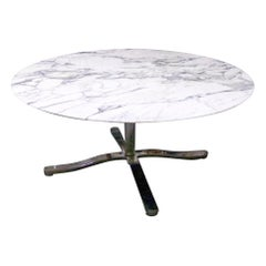 "Nicos Zographos Round Carrara Marble ""Alpha"" Dining or Conference Table"