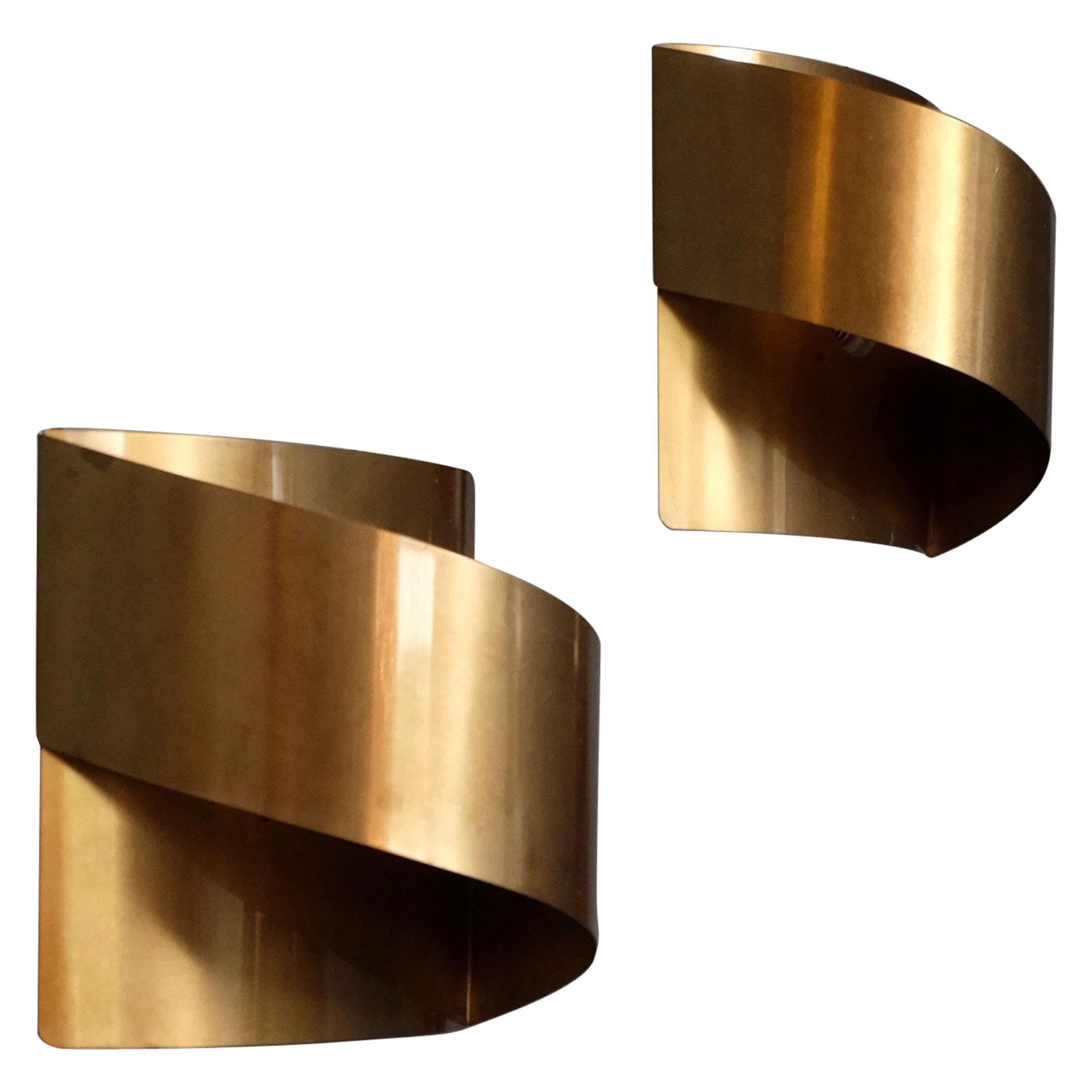 """Swedish Brass Wall Lamps """"Band"""" by Peter Celsing, 1960s"""