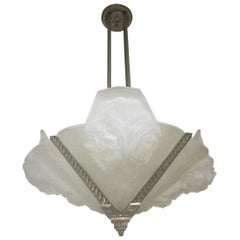 French Art Deco Frosted Art Glass Chandelier with Roses, Signed Verdun, France