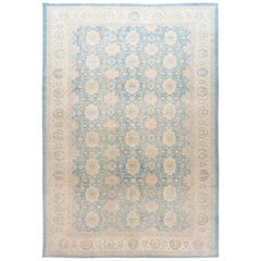 Contemporary Oversize Ivory and Pale Blue Tabriz-Style Area Rug