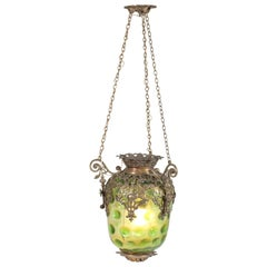 Antique French Brass Hall Lantern with Original Green Glass Shade, 1900s