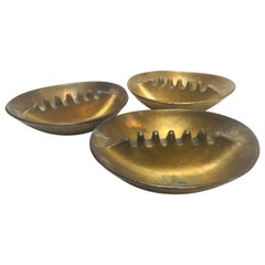 Set of Three Vintage 1960 Solid Cast Brass Ashtrays