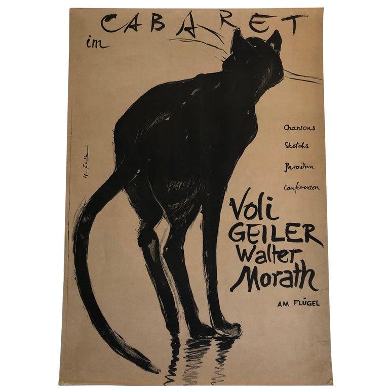 Mid-Century Modern Original Swiss Black Cat Cabaret Poster, circa 1949 For Sale