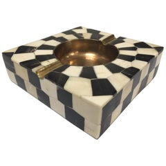 White and Black Bone Inlaid Ashtray with Brass Accent