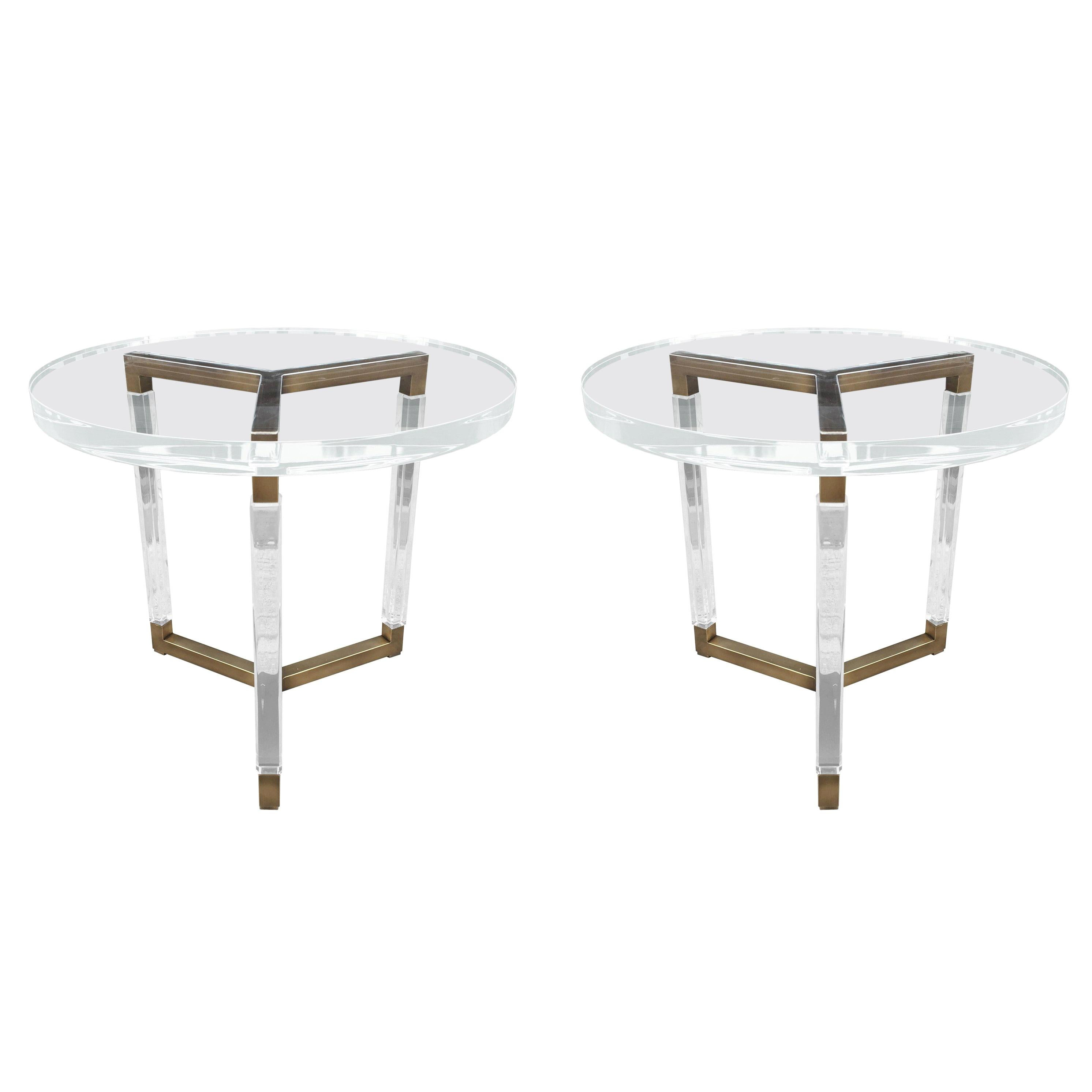 """Charles Hollis Jones Solid Brass and Lucite Side Tables """"Metric Collection"""""""