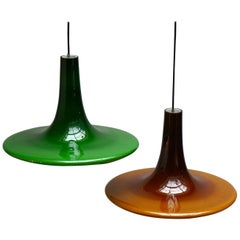 One of Four Glass Pendant Lights by Peil and Putzler, 1970s, Germany
