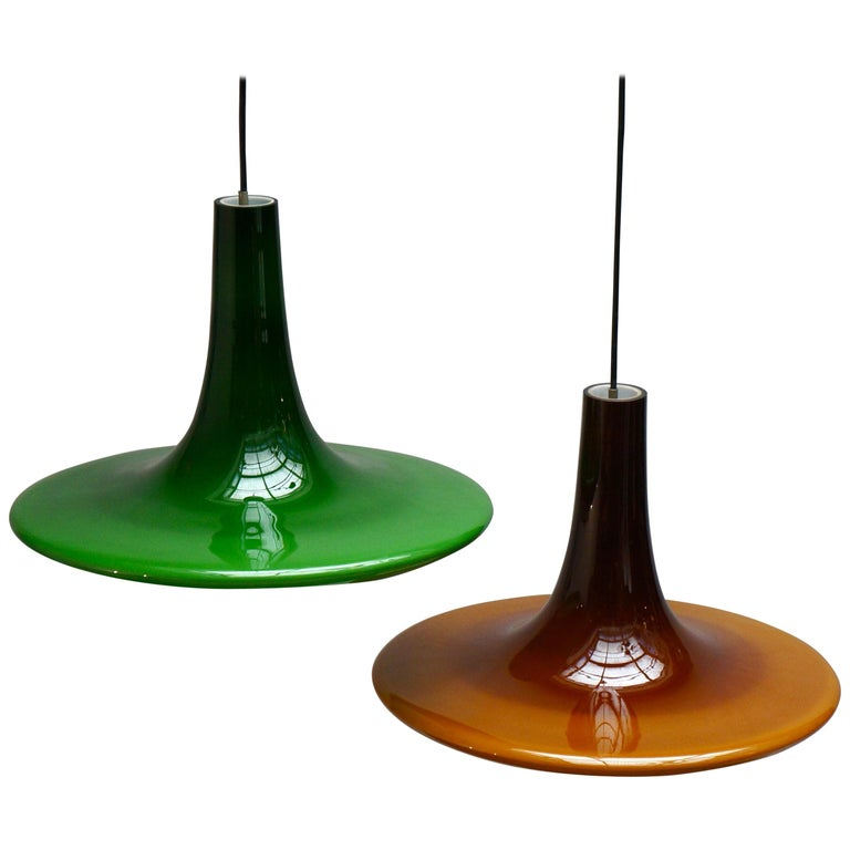 One of Four Glass Pendant Lights by Peil and Putzler, 1970s, Germany For Sale