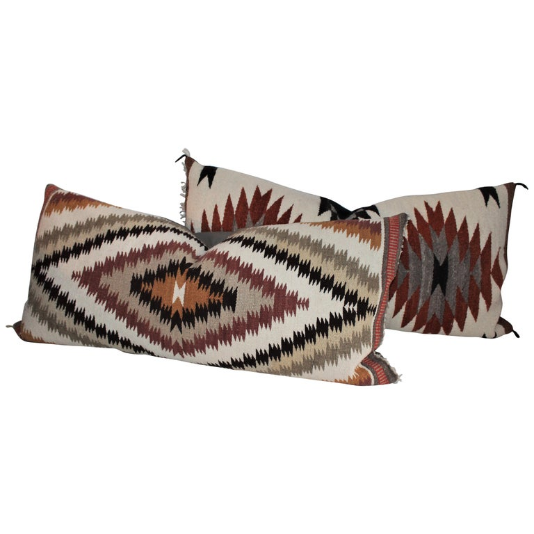 Navajo Indian Weaving Saddle Blanket Pillows, 2 For Sale