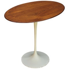 1950s Oval Walnut Tulip Side Table Madison Avenue Eero Saarinen Knoll Elliptical