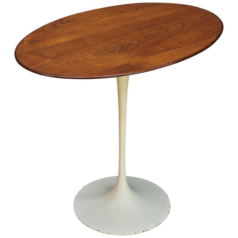 1950s Oval Walnut Tulip Side Table Madison Avenue Eero Saarinen Knoll Elliptical For Sale