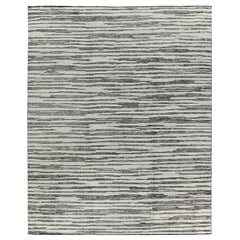 Grey Striped Moroccan Design Rug