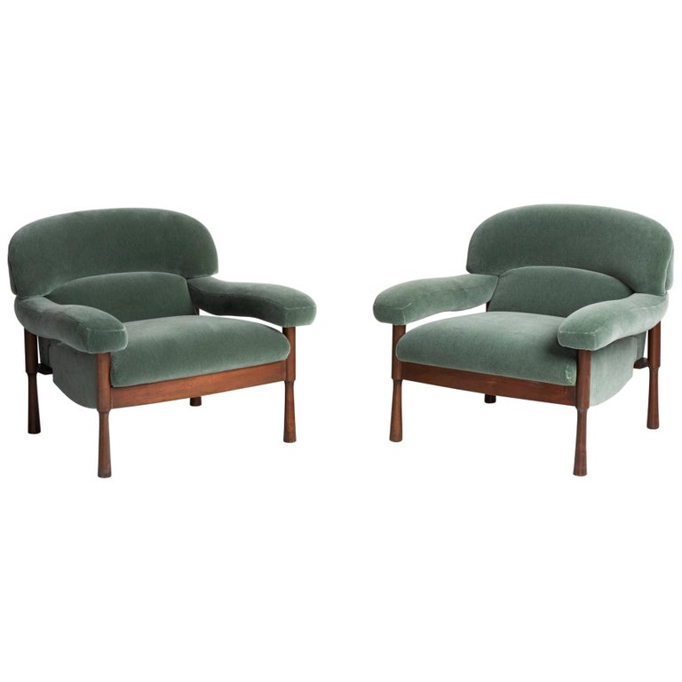 Green Mohair Armchairs by Elam, Italy, circa 1960 For Sale