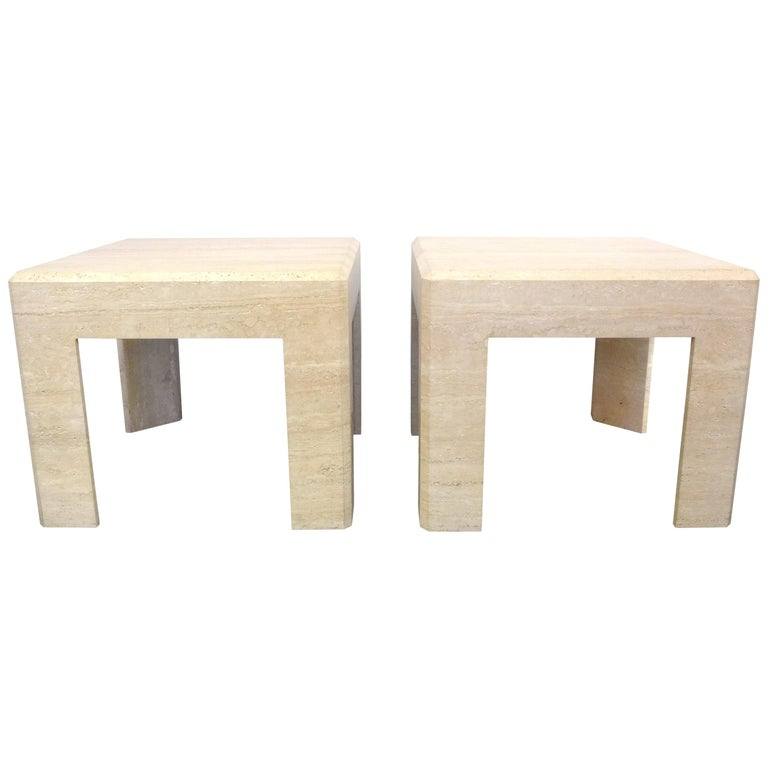 Pair of Massive Square Travertine Side Tables For Sale
