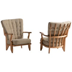 Armchairs by Guillerme & Chambron, France, circa 1950