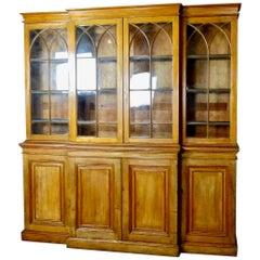 1870 American Pine Breakfront Linen Library Cupboard