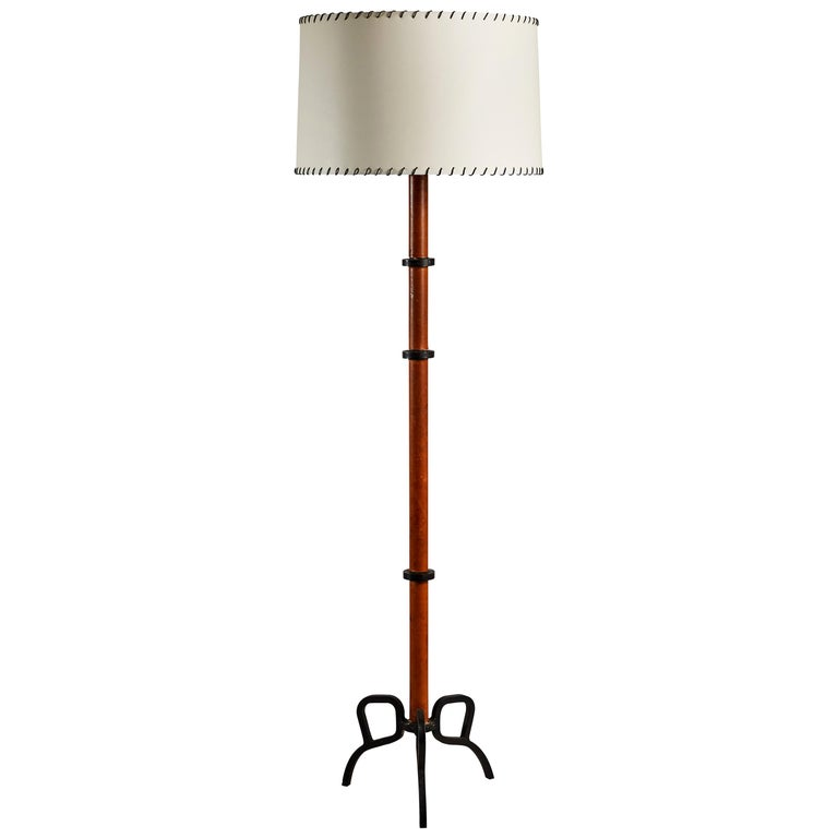 Rare Floor Lamp by Jacques Adnet For Sale