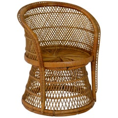 Midcentury Woven Rattan Tub Chair
