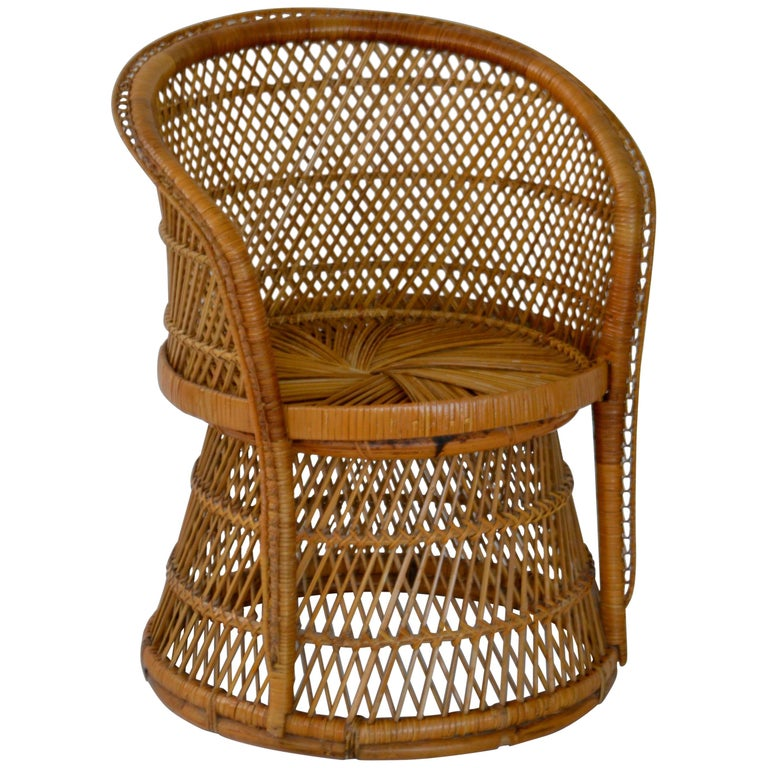 Midcentury Woven Rattan Tub Chair For Sale
