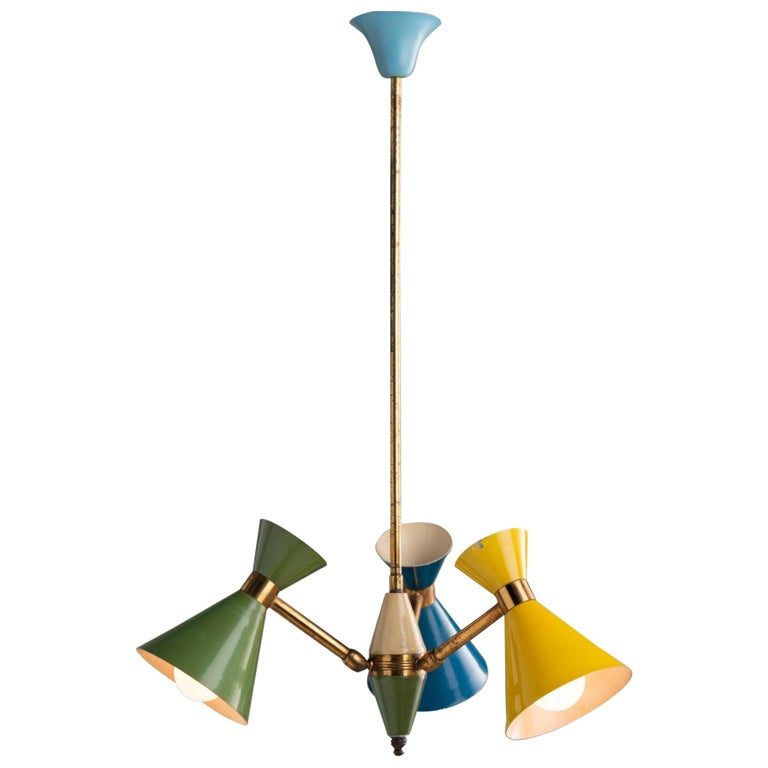 Petite Multi-Color Chandelier, Italy, circa 1960 For Sale