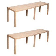 Pair of Cerused Oak Parquetry Long Benches