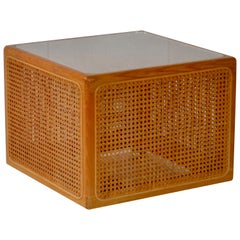 Midcentury Woven Cane Cube Form Side Table