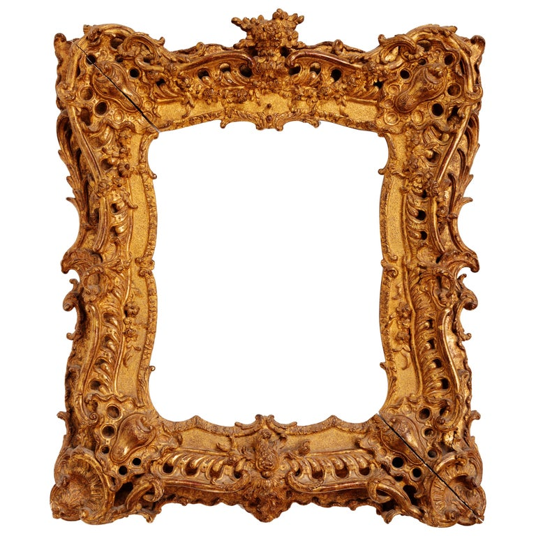 Unique Louis XV Period French Rococo Extraordinary Carved Giltwood Frame/Mirror For Sale