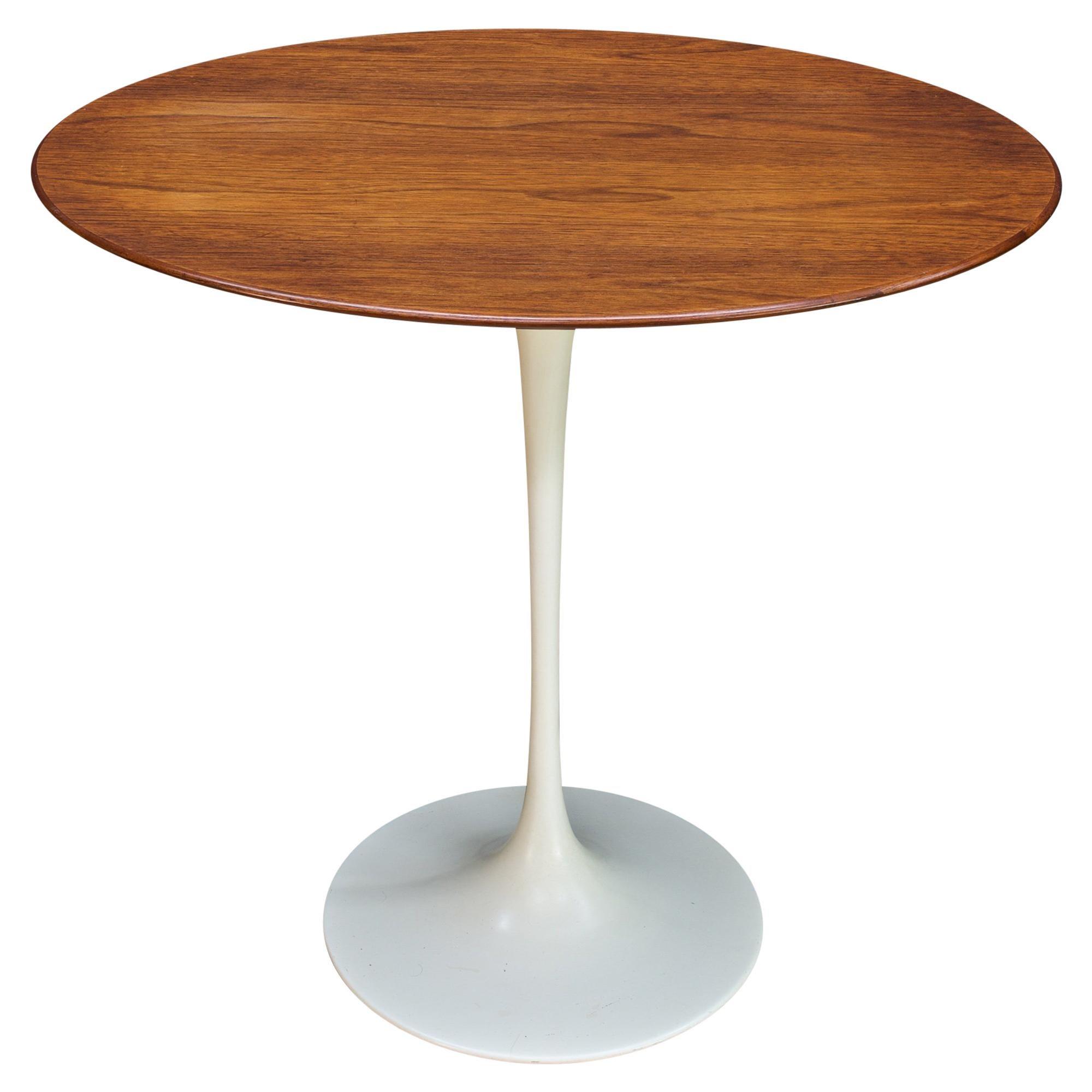 1960s CabinModern Oval Walnut Tulip Side Table Eero Saarinen Knoll Elliptical