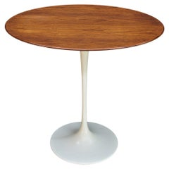 1960s CabinModern Oval Walnut Tulip Side Table Eero Saarinen Knoll Elliptical