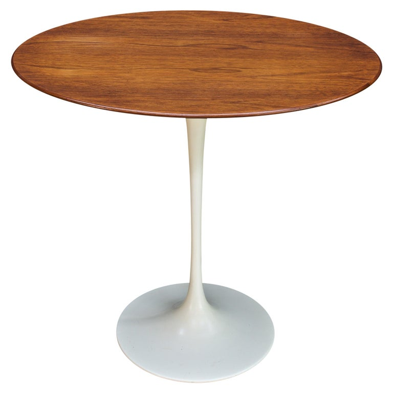 1960s Cabinmodern Oval Walnut Tulip Side Table Eero Saarinen Knoll Elliptical For