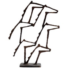 Rare Bronze Sculpture by Pierre Manoli, Horses Profiles, France, 20th Century